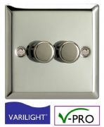 Double Chrome LED Dimmer Switch | VARILIGHT Intelligent Trailing-Edge (V-Pro) | 2 Gang